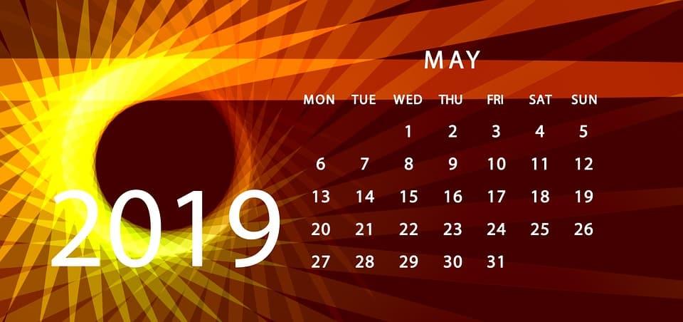 kalendarz maj 2019