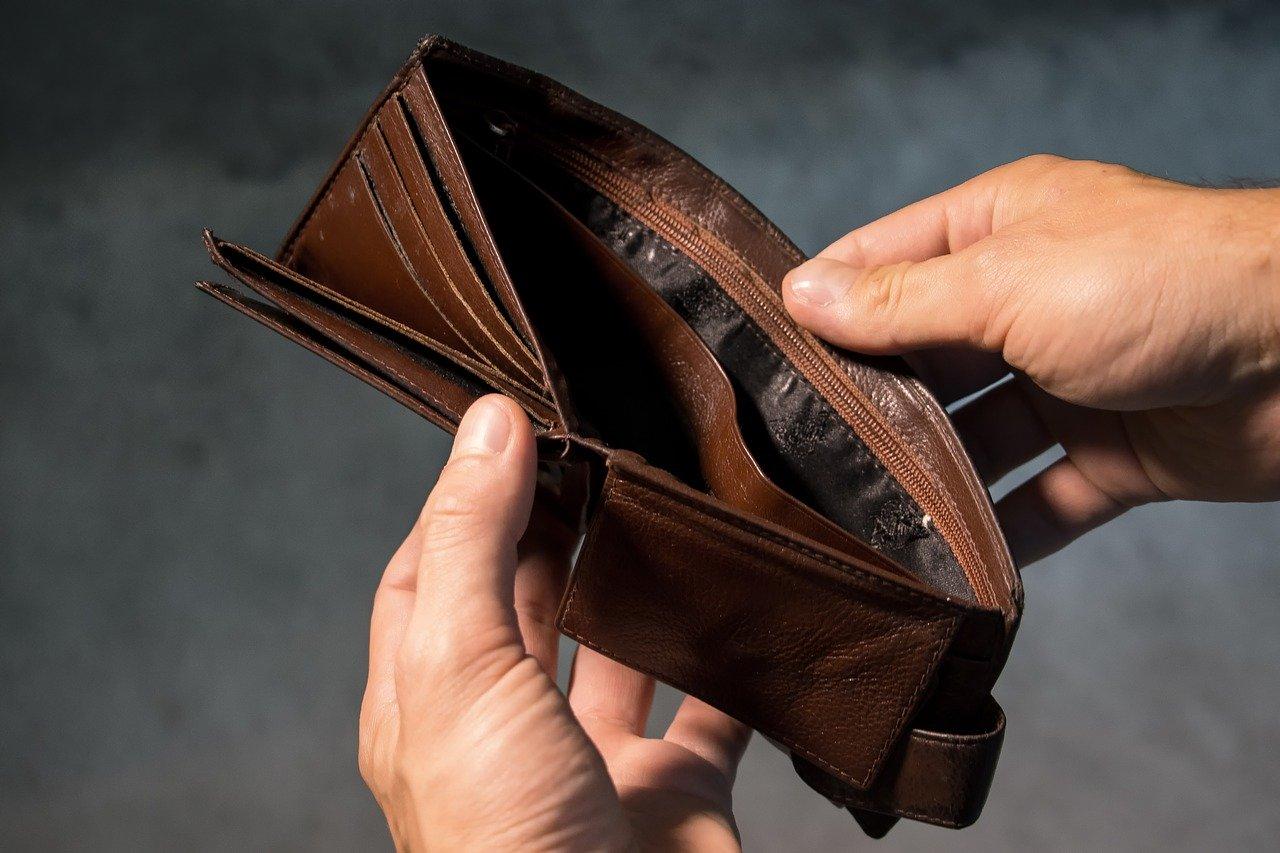 pusty portfel na kwarantannie
