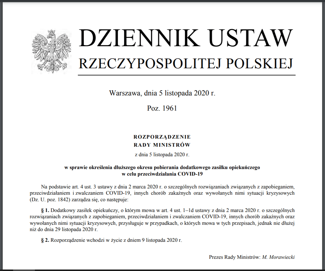 Dodatkowy zasiłek opiekuńczy do 24 grudnia br.  DZIENNIK USTAW RZECZYPOSPOLITEJ POLSKIEJ