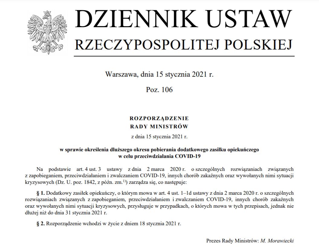Dodatkowy zasiłek opiekuńczy wydłużony do 31 stycznia 2021 r.